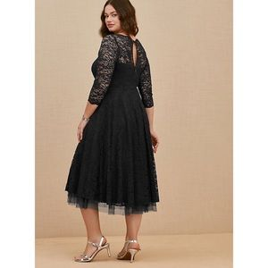 Torrid Black Lace Midi Dress 14 New Occasion Dress